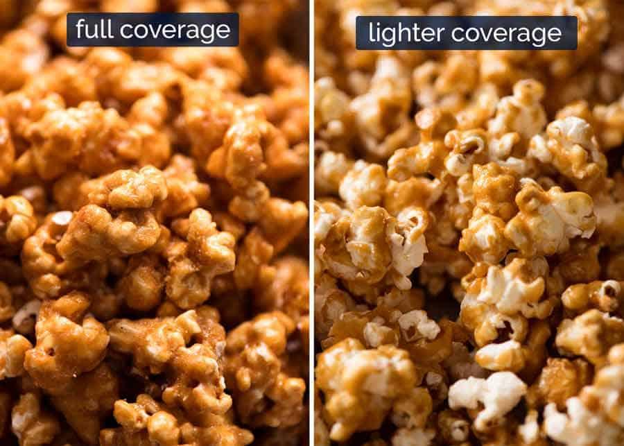 Full vs lighter coverage caramel popcorn