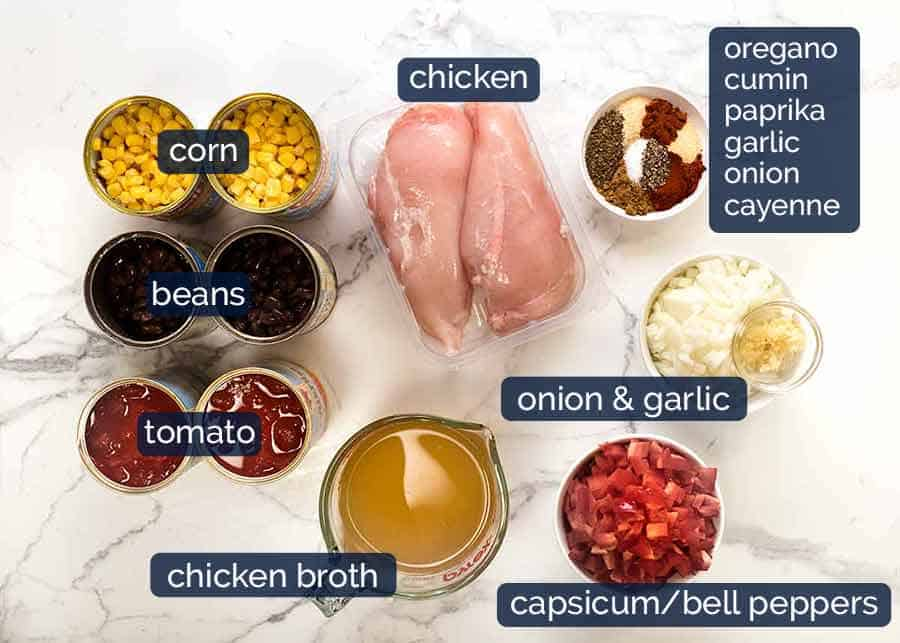 Ingredients for Mexican Soup with Chicken
