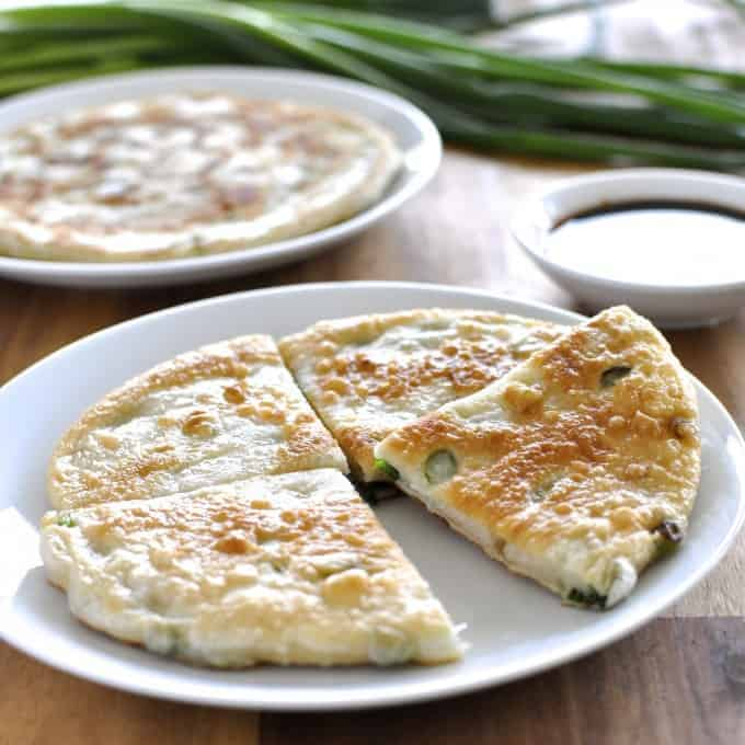 Scallion Shallot Pancakes - my favourite Chinese restaurant treat at home! Flaky and chewy inside, golden crisp exterior. Easy!