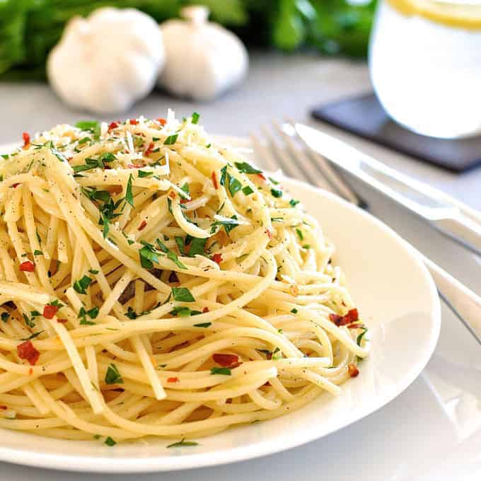 Basil chicken aglio pasta recipe