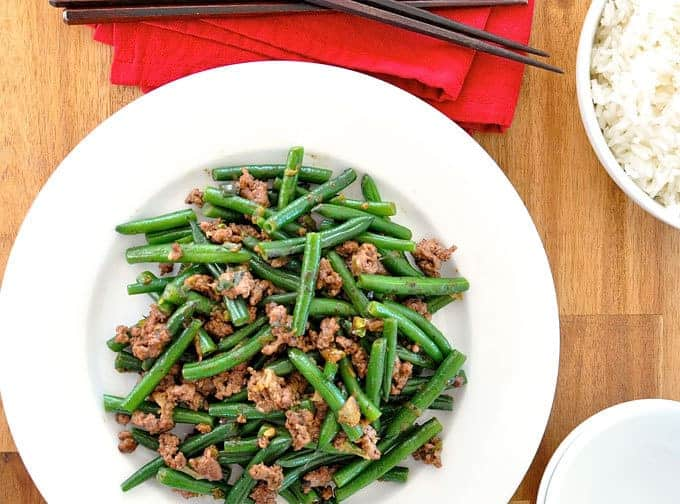 Stir Fried Green Beans with Pork or Beef - a tasty Japanese home meal, on the table in 15 minutes!