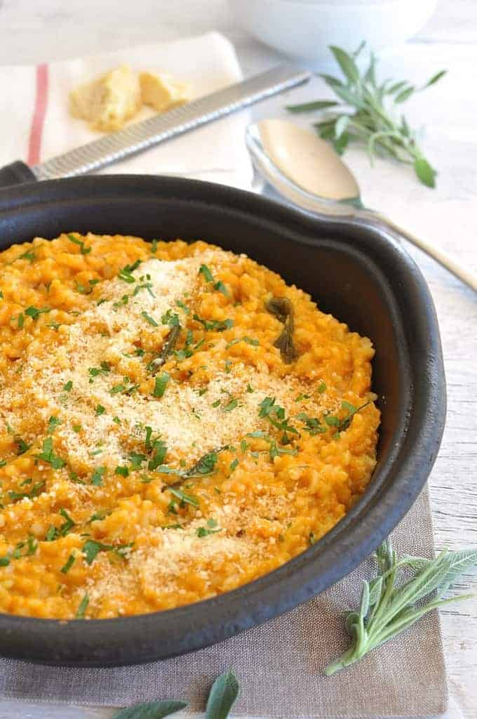 Unlike other baked risottos, this is creamy, not sticky and starchy. The secret is the pumpkin. #fast #midweek_meal #pumpkin
