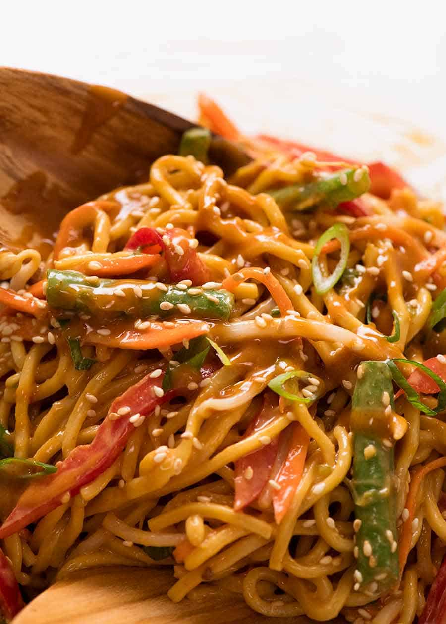 Close up of Noodle Salad (Lunch Idea for work)