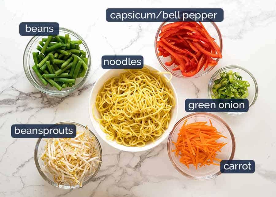 Ingredients in Asian Noodle Salad
