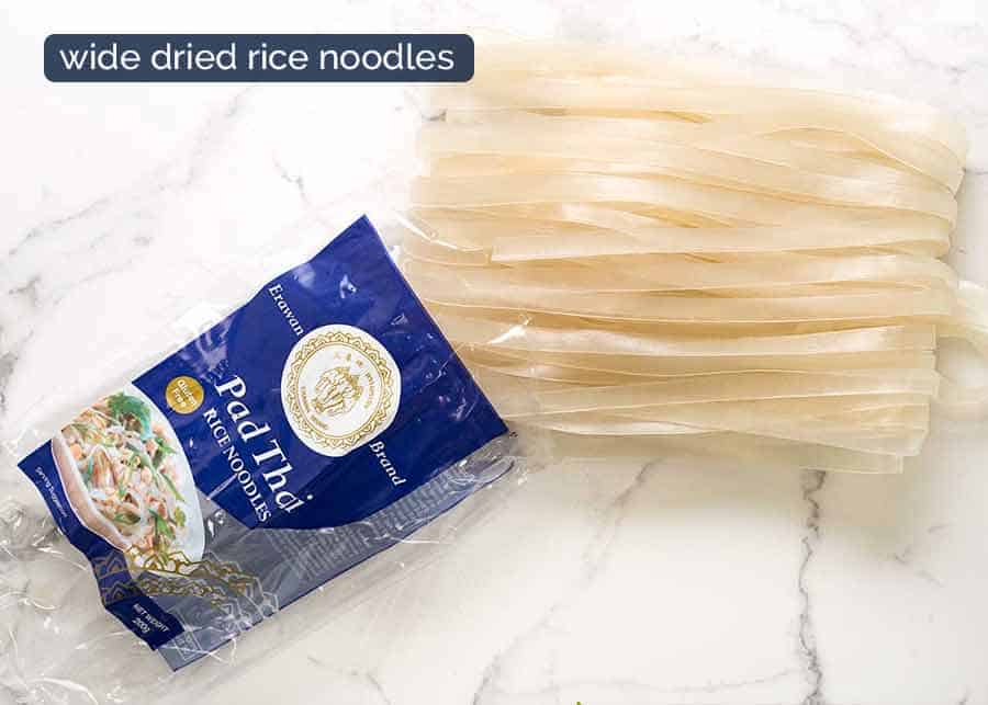 Dried rice noodles for Thai Drunken Noodles
