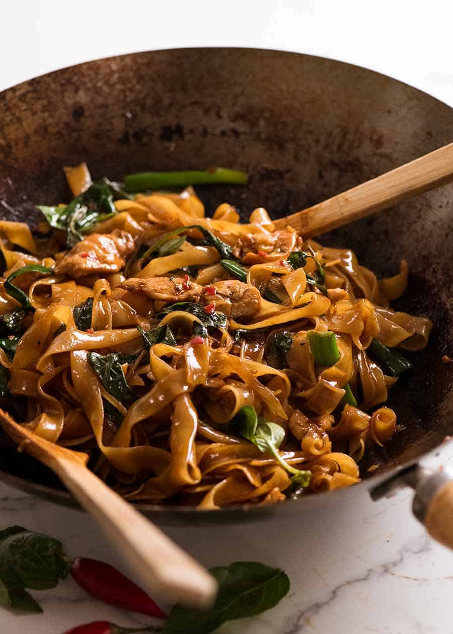 Thai Drunken Noodles in a wok, fresh off the stove