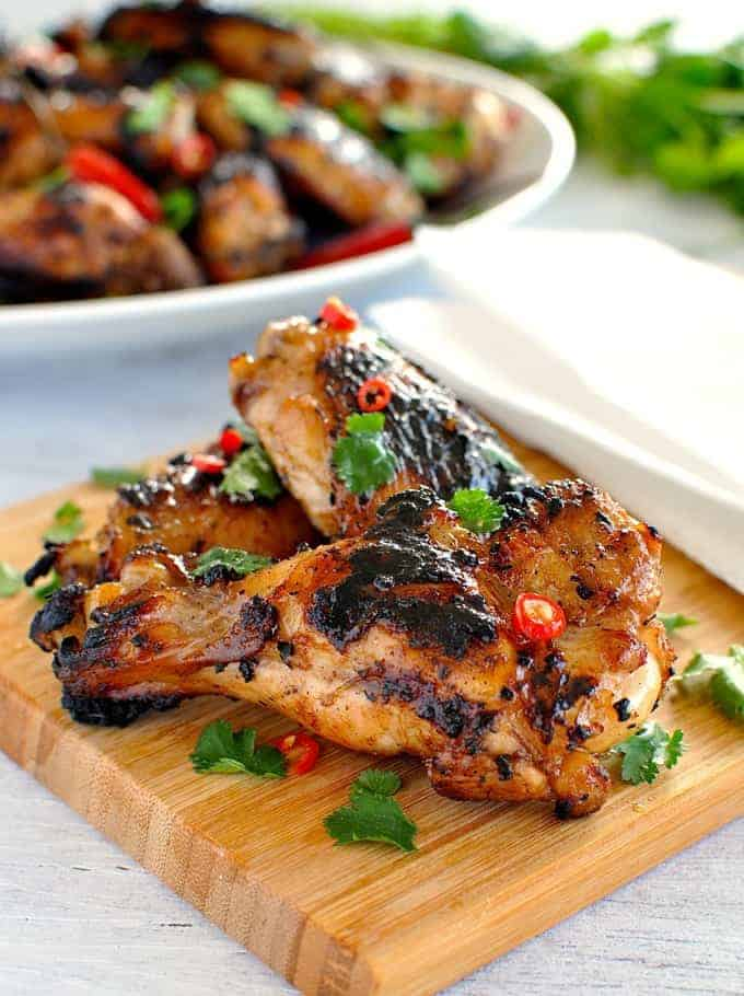 Classic simple Vietnamese marinade infused with lemongrass, then grilled to perfection! #BBQ #grill #chicken #appetizer #asian #fusion