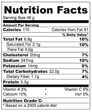 Baked Arancini Nutrition