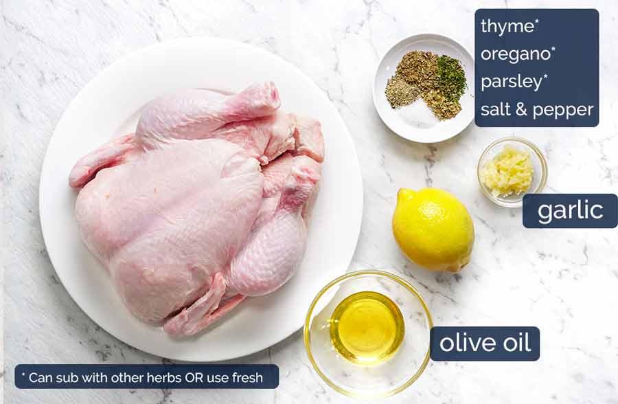 Ingredients in Lemon Garlic Slow Cooker Roast Chicken