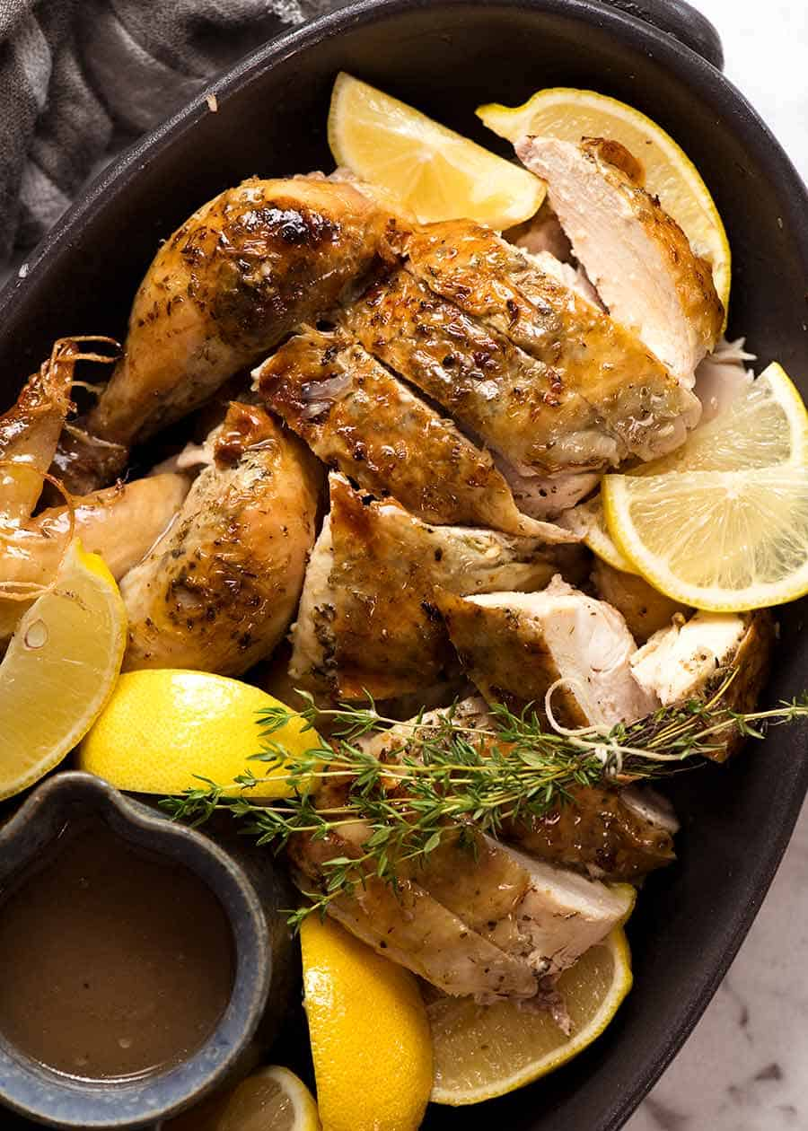 Slow Cooker Roast Chicken carved, ready to be served