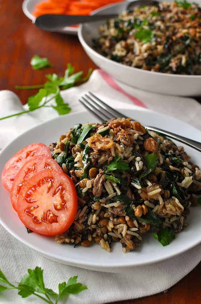 """A complete meal (Nutrition Rating """"A""""), superbly aromatic, only 10 minutes prep. #middle_eastern #arabic #rice #pilaf"""