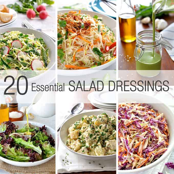 Summarised on one page, 7 classic vinaigrettes, Italian, Greek, French, Asian, coleslaw, potato salad, green goddess + more. #salad_dressings