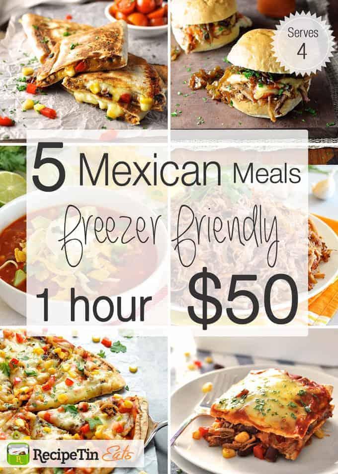 Enchilada Stack, Mexican Pizza, Taco Soup, Mexican Sliders and Quesadillas. Free printables! #meal_plan #budget #mexican