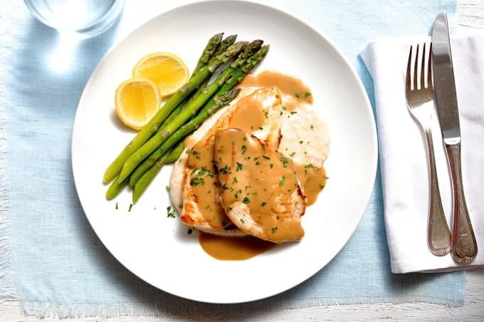 ... Minute Chicken with Creamy Marsala Sauce, White Bean Puree & Asparagus
