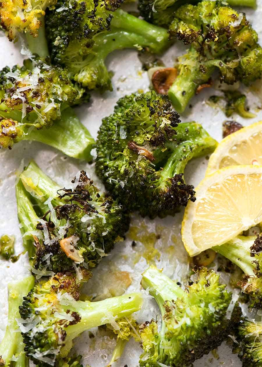Close up overhead photo of Magic Broccoli - the best roasted broccoli ever, fresh out of the oven