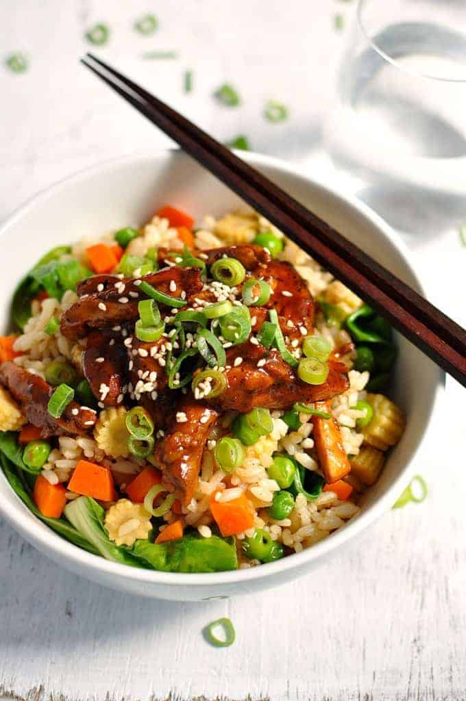 Sticky chicken with vegetable fried rice freezer friendly a fresh stir fry that can be largely made ahead and frozen the sticky chicken forumfinder Gallery