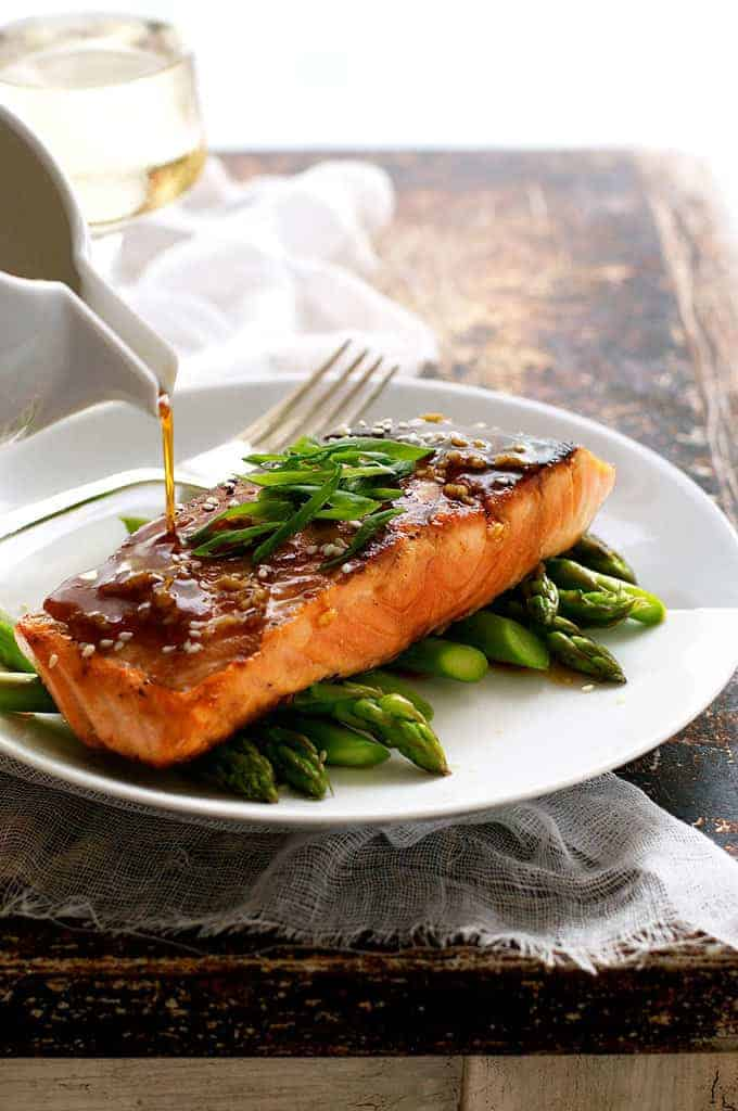 Honey Garlic Salmon - 5 ingredients and 15 minutes. Made from scratch and fancy enough to serve for a dinner party.