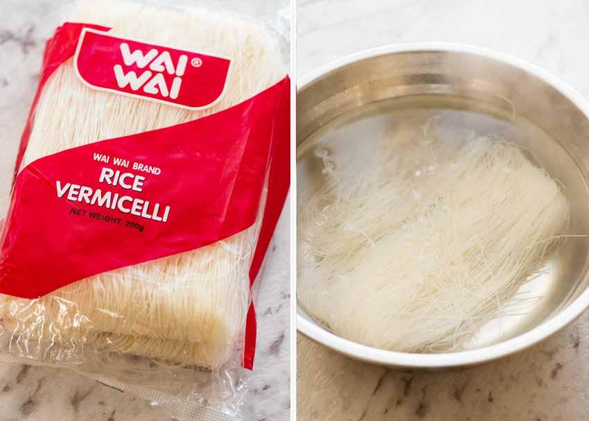 Preparation of Rice noodles / vermicelli noodles for Singapore Noodles