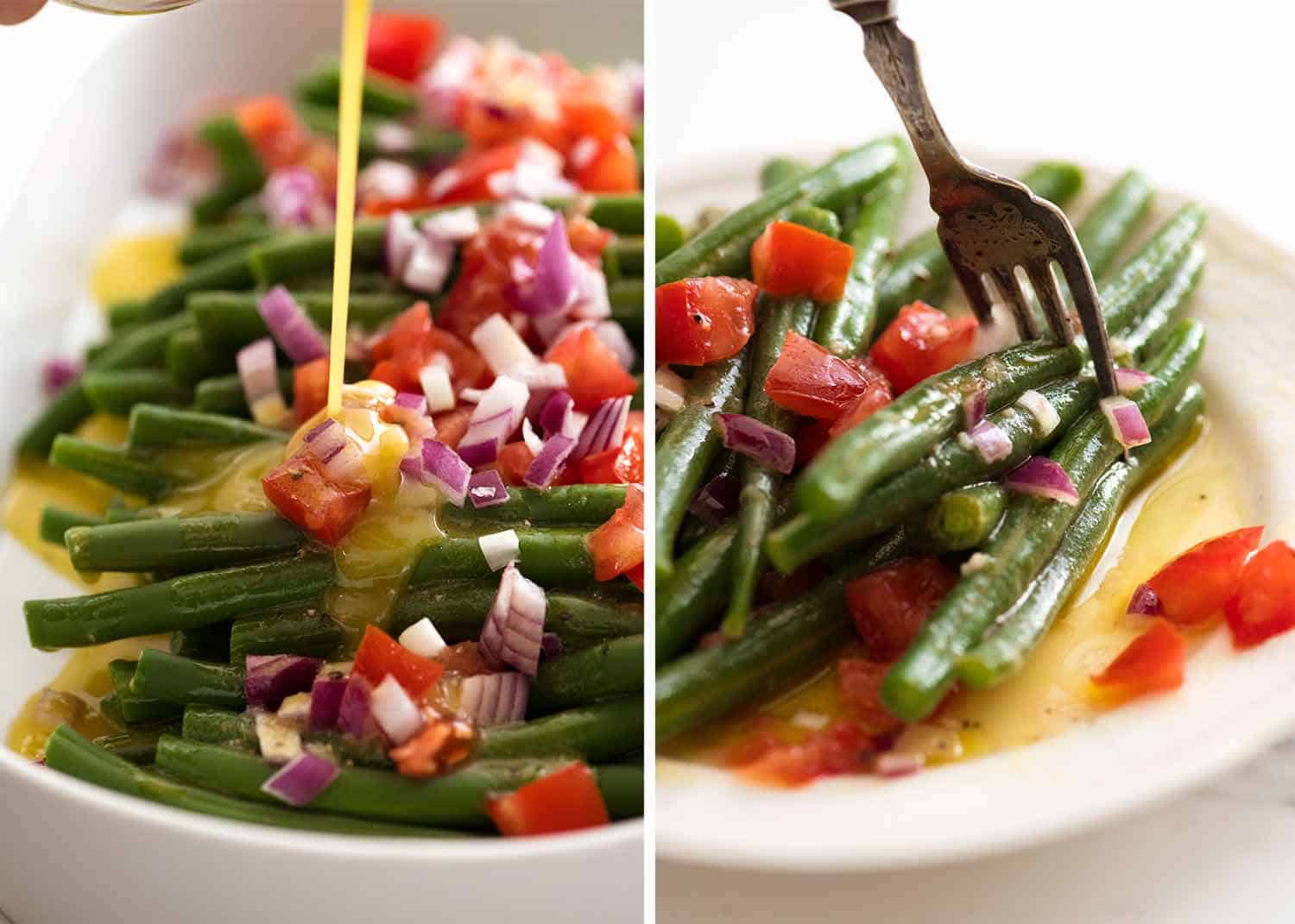 Close up of forkful of green bean salad