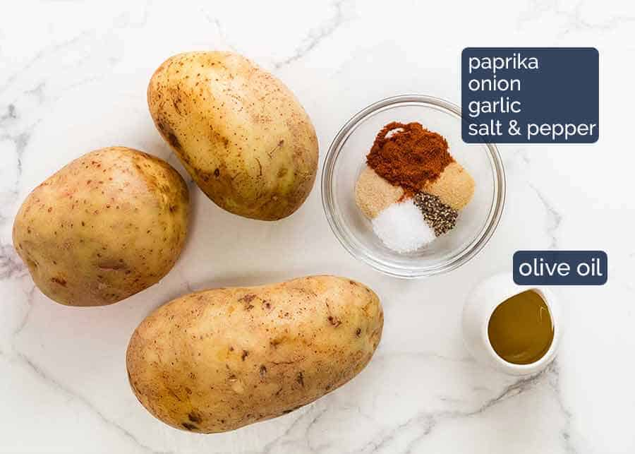 Ingredients in oven baked potato wedges