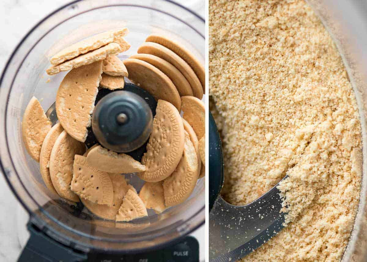 Preparation of No Bake Chocolate Peanut Butter Bars - biscuits in food processor