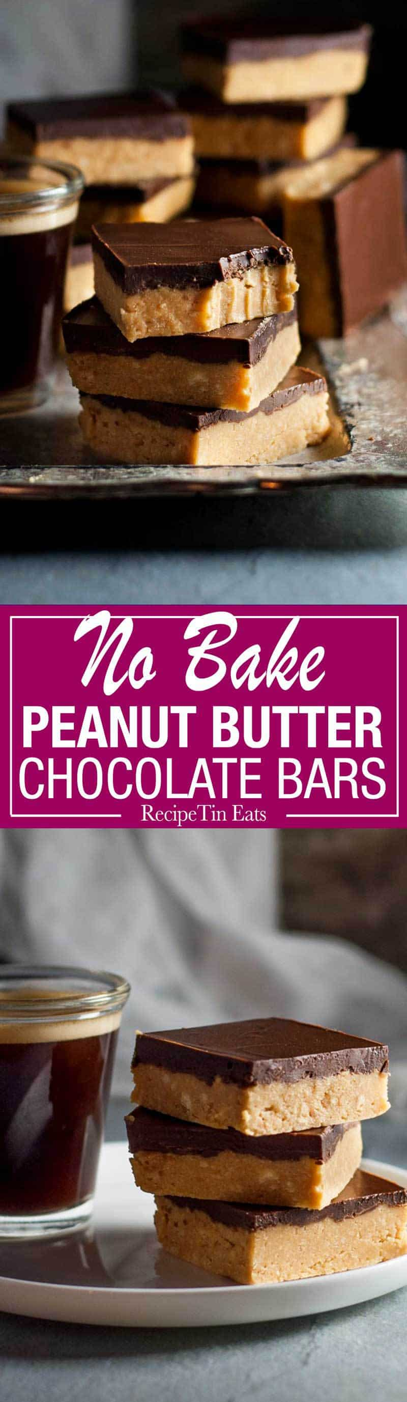 Chocolate, peanut butter, Graham Crackers, butter and sugar is all you need. They taste like Reece's Peanut Butter cups!