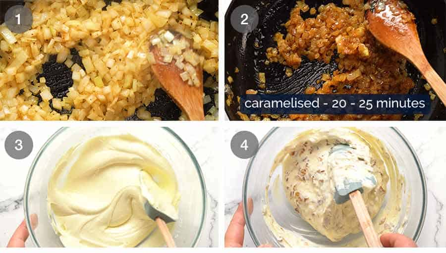 Process step photos for how to make homemade French Onion Dip