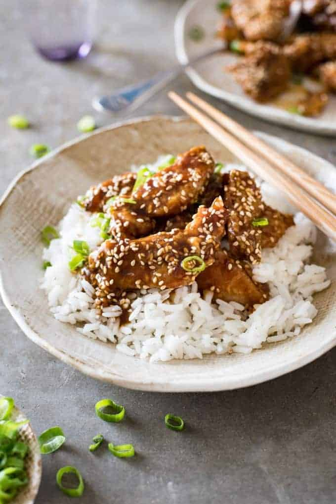 Finished Chinese Honey Sesame Chicken with rice