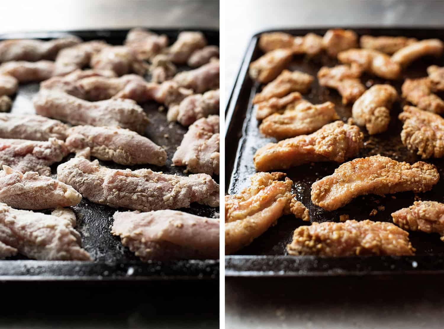Dusted Chinese Honey Sesame Chicken before and after baking