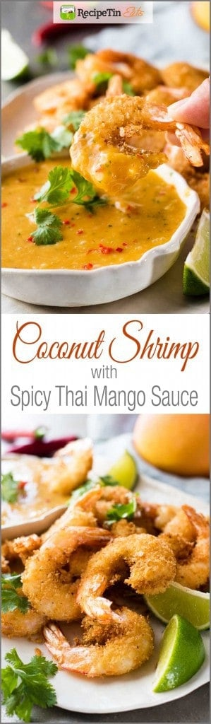 Coconut Shrimp / Prawns with Spicy Thai Mango Sauce - Crunchy shrimp / prawns with a Thai Mango Sauce that's so good you will want to put it on everything!