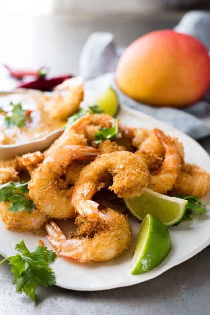 A plate of Coconut Shrimp / Prawns