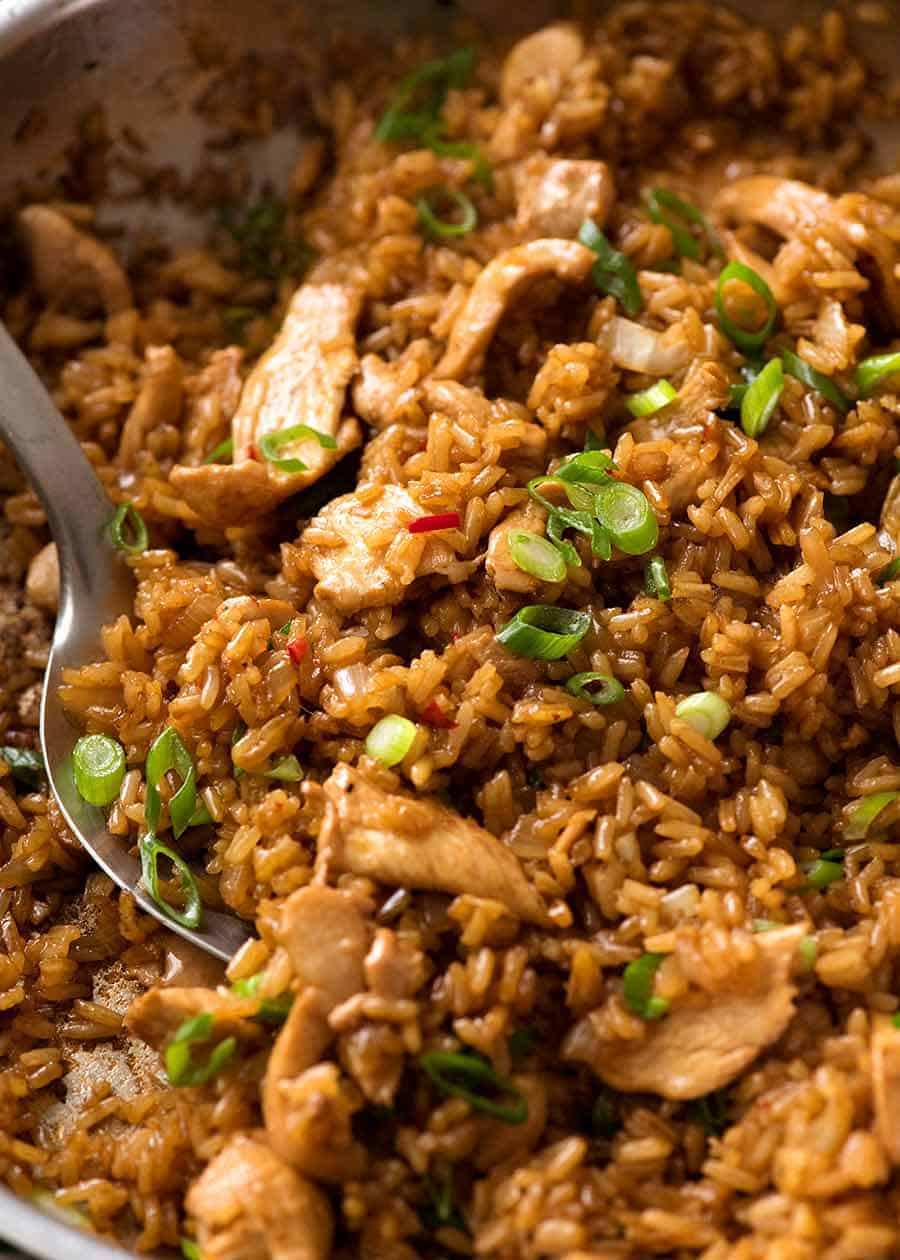 Close up of Nasi Goreng (Indonesian Fried Rice) in a skillet, fresh off the stove ready to be served