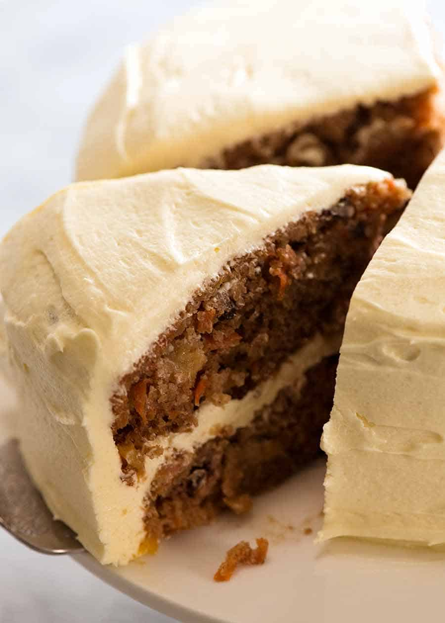 Close up of slice of Carrot Cake
