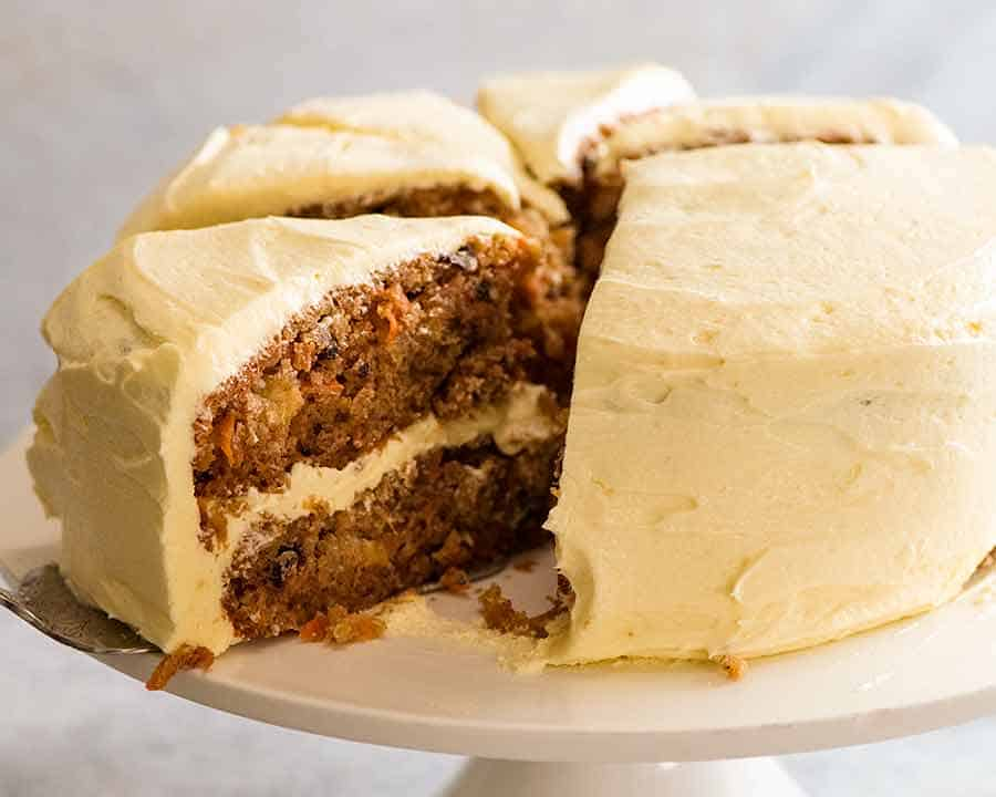 Carrot Cake on white cake stand