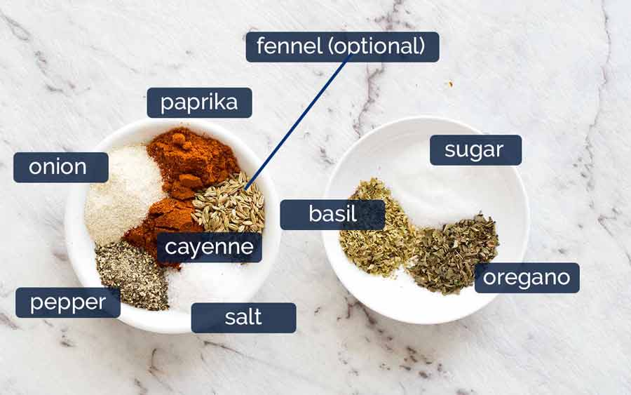 Spice flavourings in Baked Ziti