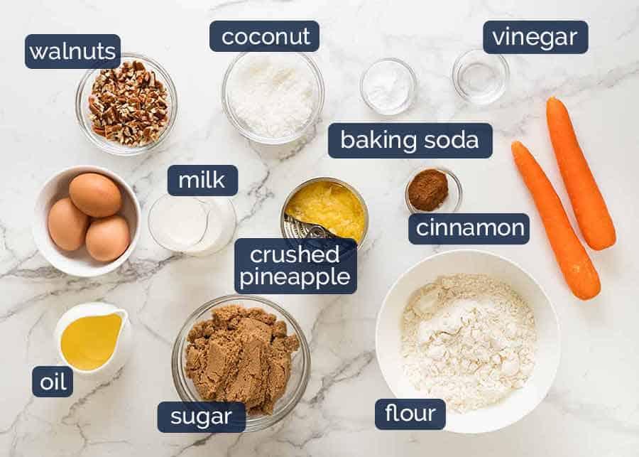 Ingredients in Carrot Cake