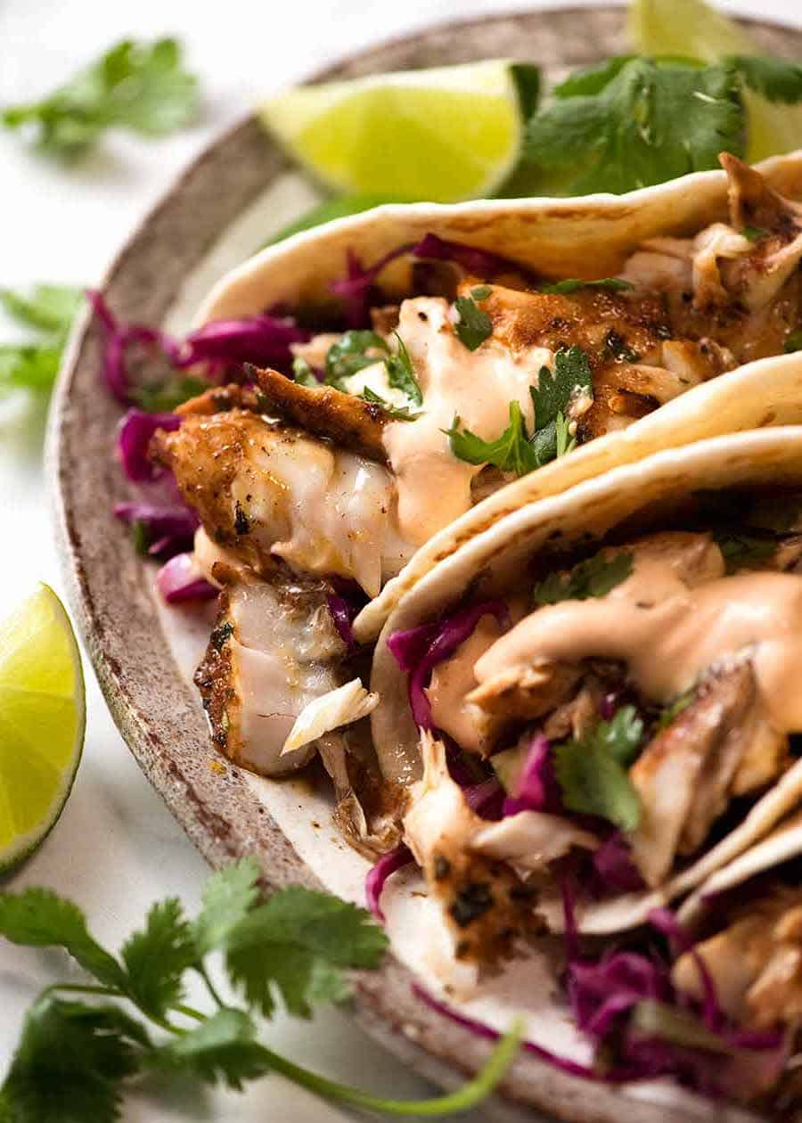 Close up of Fish Tacos on a plate, ready to be eaten