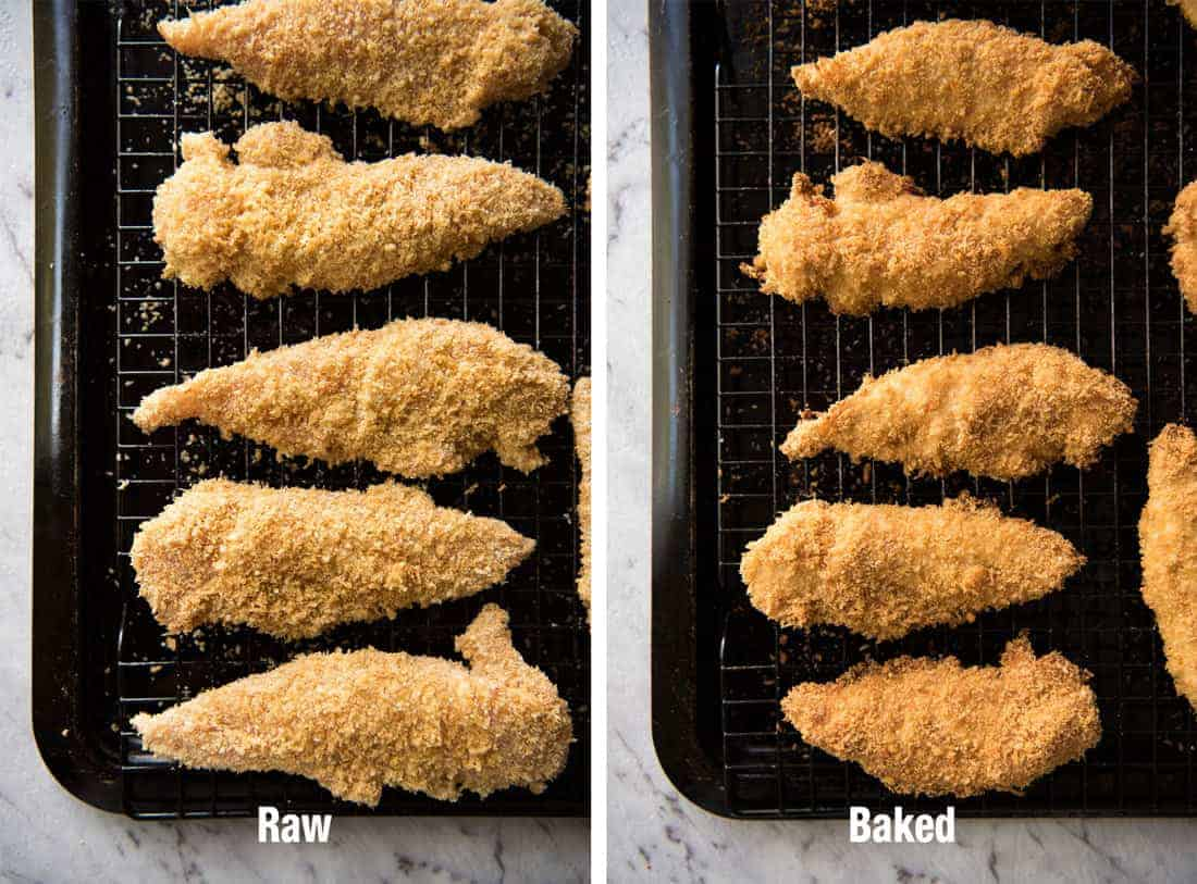 A comparison of raw and cooked Oven Fried Chicken Tenders on a black tray.