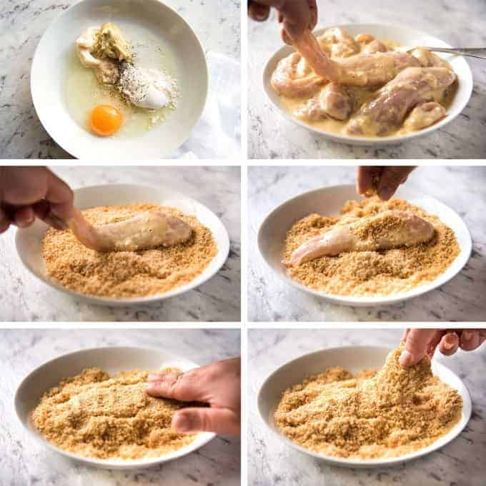 Step photos showing how to dredge and coat chicken in breadcrumbs.