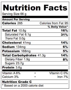 Oatmeal Raising Cookie Nutrition