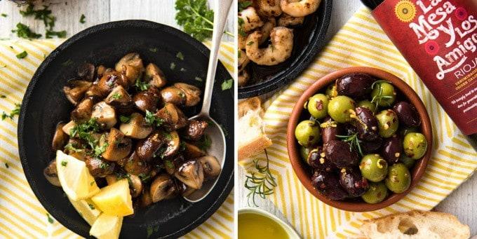 5 Easy Spanish Tapas recipes - Garlic Mushrooms and Marinated Olives www.recipetineats.com