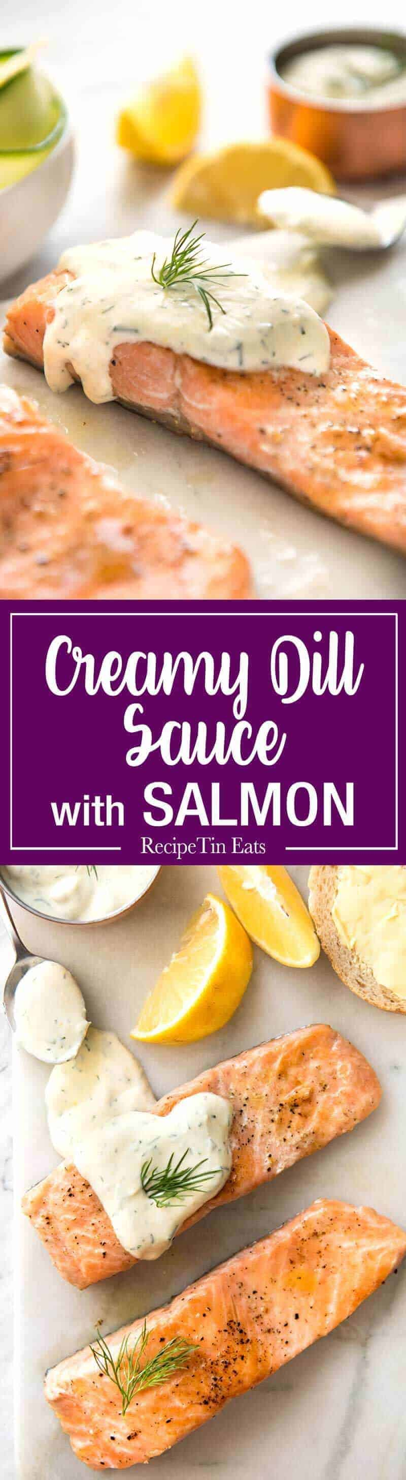 Creamy Dill Sauce for Salmon or Trout - A simple, refreshing sauce that pairs beautifully with rich salmon. Dinner on the table in 15 minutes! www.recipeteineats.com