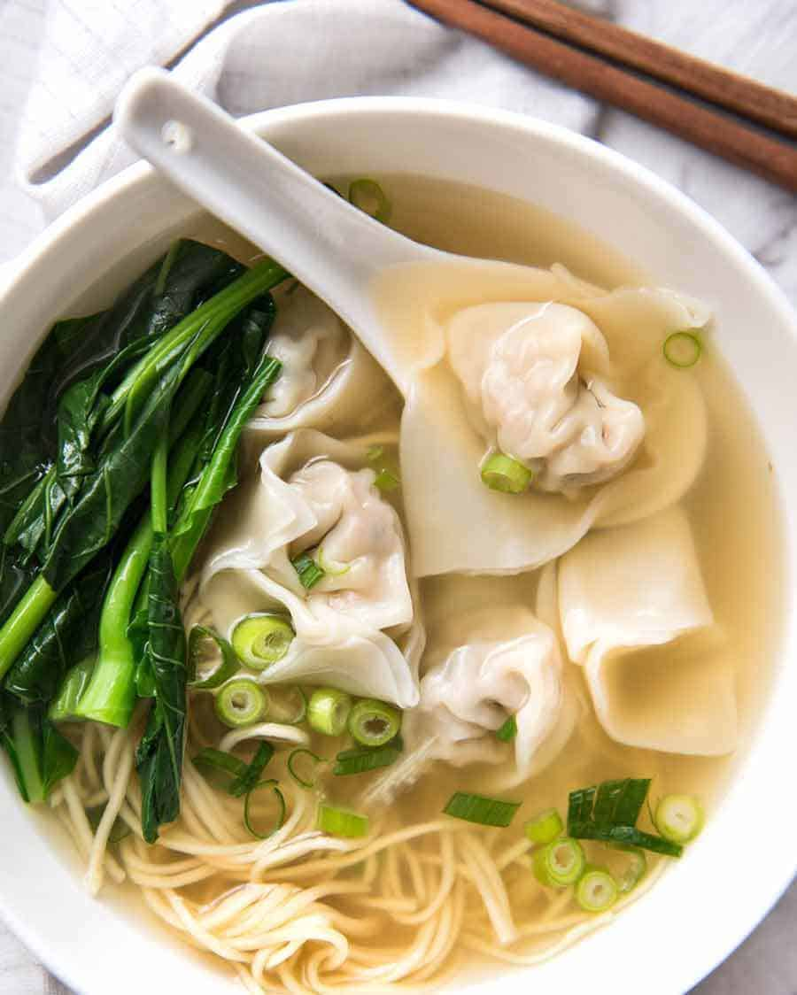 Wonton Soup made with homemade wontons. Super healthy!