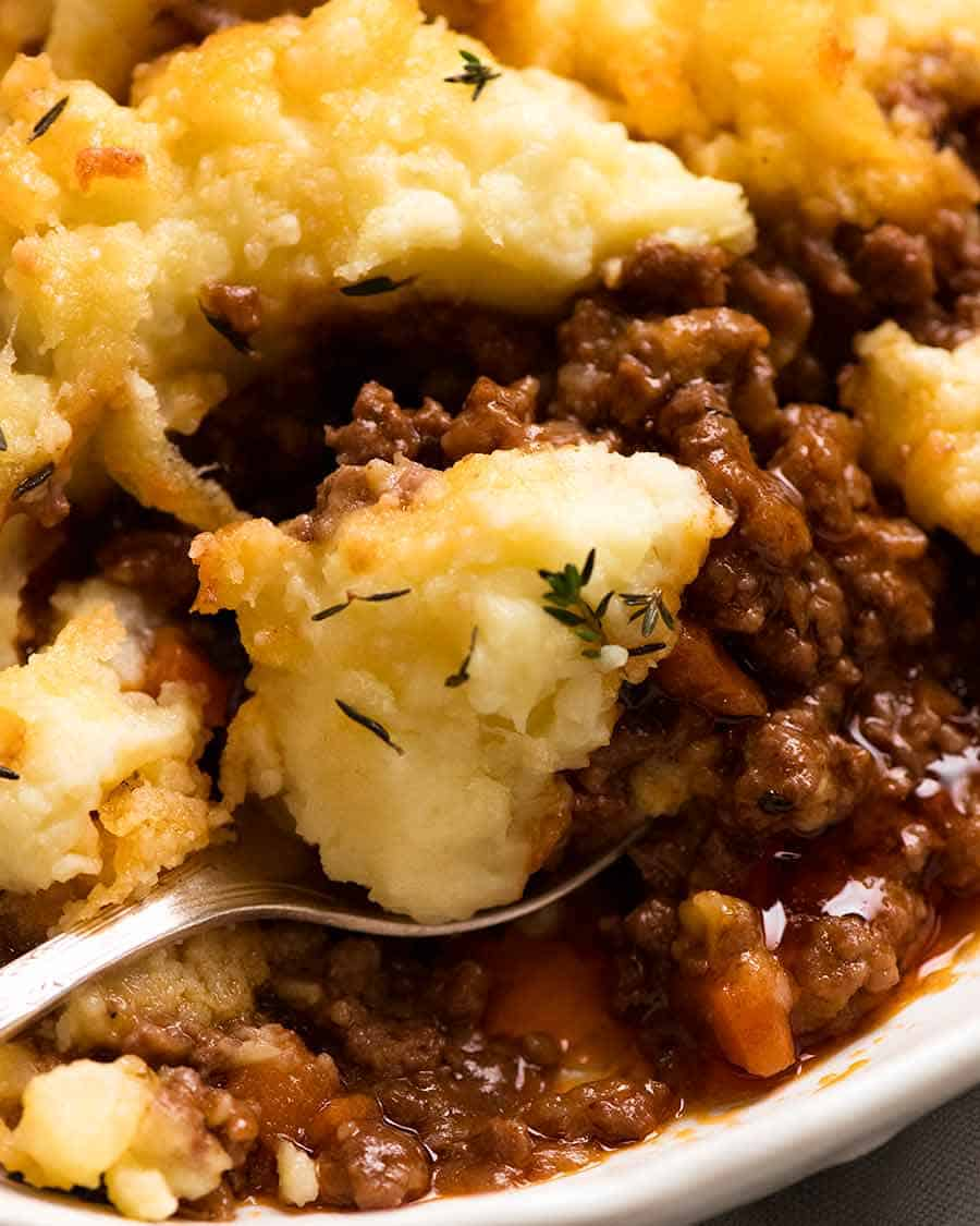 Close up of spoon scooping up Cottage Pie
