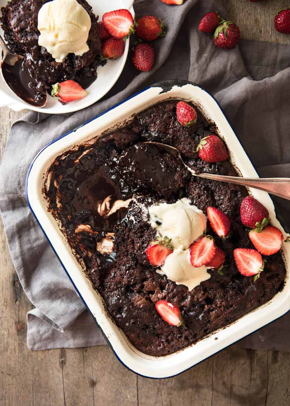 Chocolate Self Saucing Pudding - 1 batter transforms into a moist chocolate cake with a beautiful silky chocolate sauce! 10 minutes active effort. www.recipetineats.com