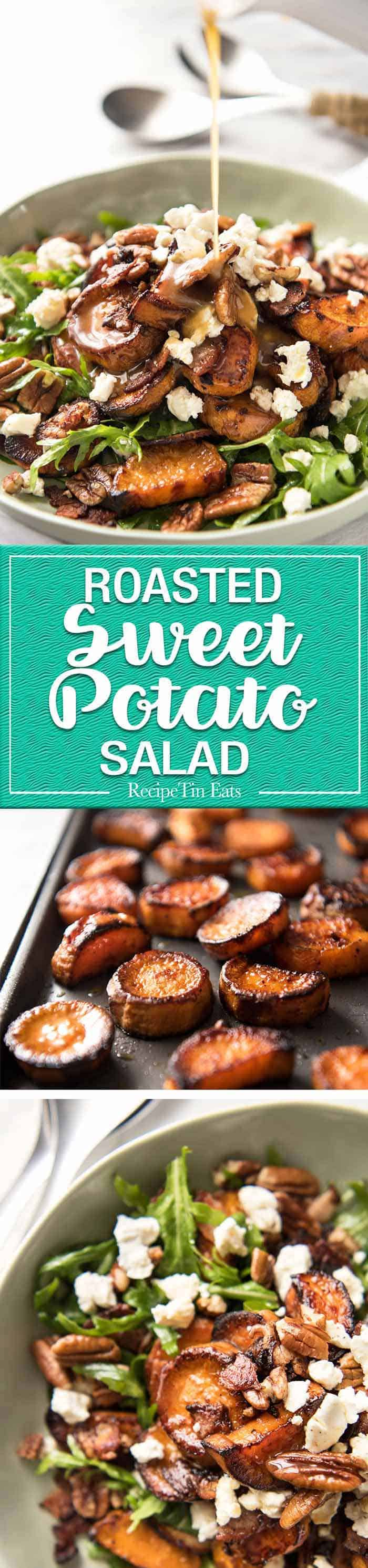 Roasted Sweet Potato Salad - magical combination of arugula/rocket, pecans, goats cheese or feta, a sprinkle of bacon and a beautiful Honey Lemon dressing. www.recipetineats.com