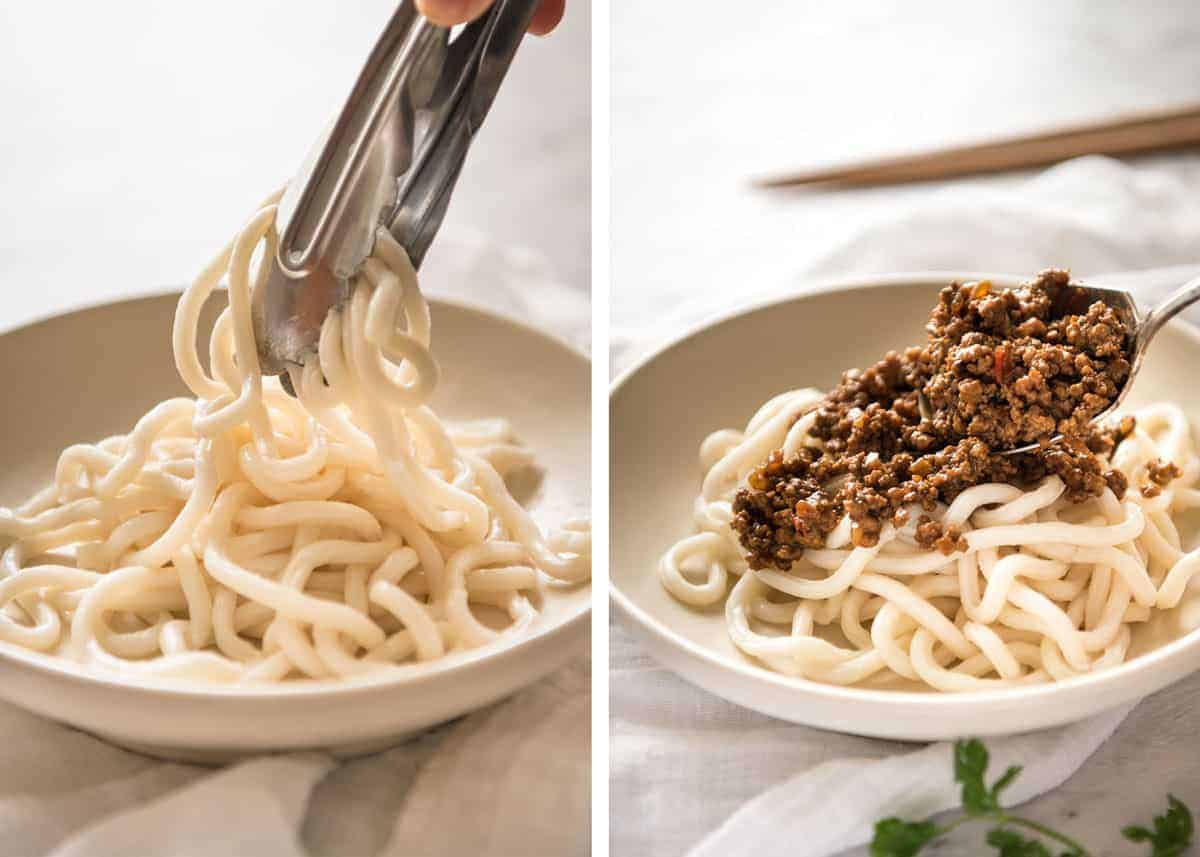 "Chinese Pork Mince with Noodles (Zha Jiang Mian) - Super quick and super tasty, affectionally known as ""Chinese Bolognese"". The pork is savoury with a touch of heat and spice, perfect mixed through noodles! www.recipetineats.com"
