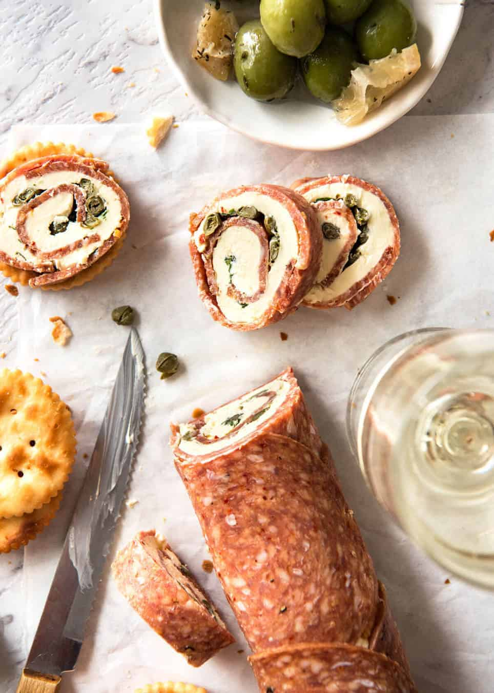 Salami Cream Cheese Roll Up - Great inexpensive party food idea! www.recipetineats.com