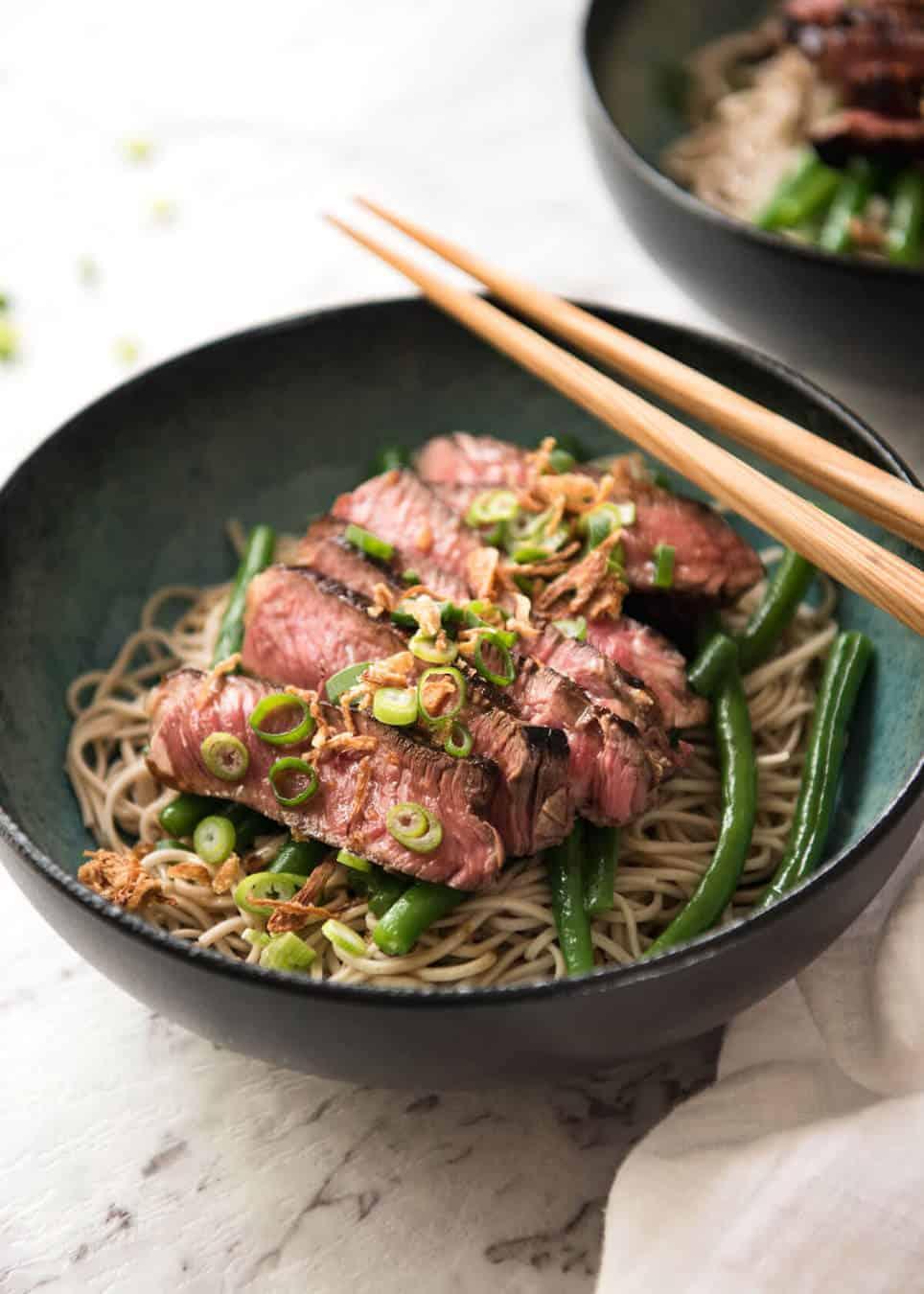 Beef Soba Noodles with chopsticks
