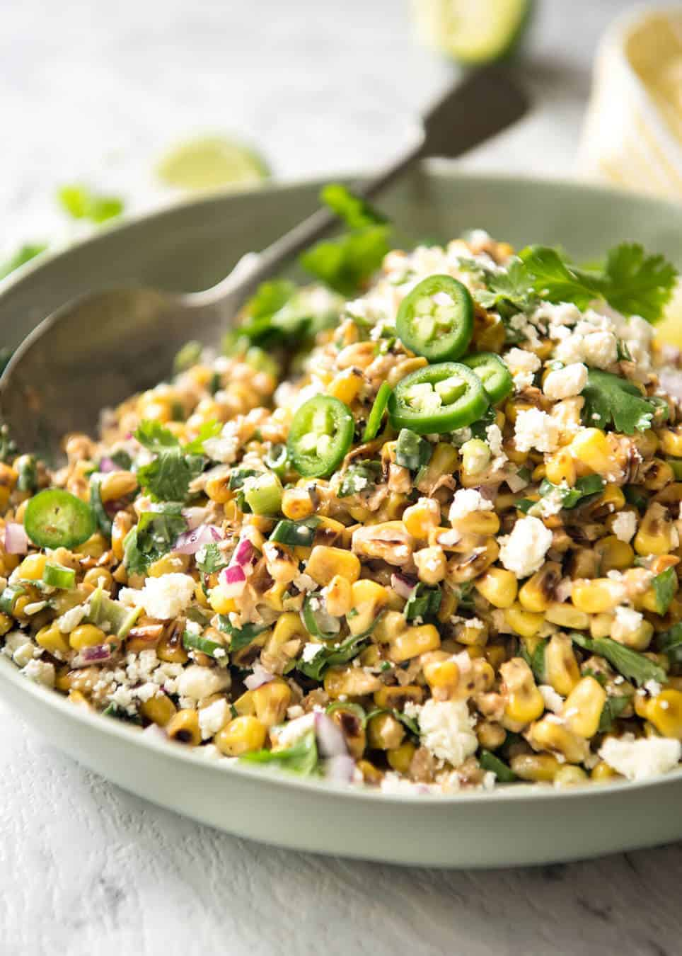 Mexican Corn Salad - Inspired by the famous Mexican street corn, this is a terrific way to use corn for an irresistible side! www.recipetineats.com
